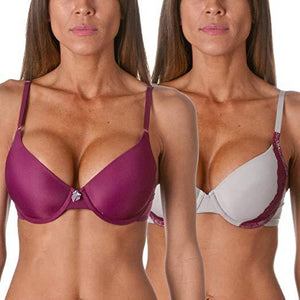 Maidenform One Fabulous Fit T-Shirt Bra (2 Pack), Lace Gull/Purple, Size US 38C - racks-op