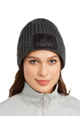 DKNY Grey Fleece-Lined Knit Beanie, One Size