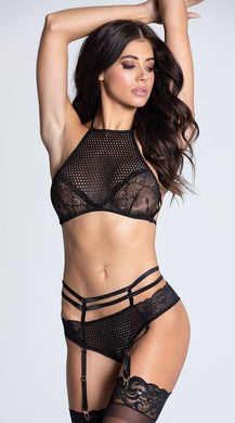 Seven Till Midnight BLACK Sport Crochet Caged Bra Set, US One Size