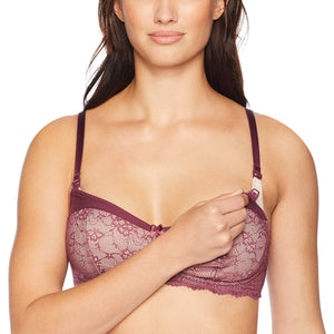 Paramour CRUSHED VIOLETS Mila Micro and Lace Nursing Bra, US 36DD - racks-op