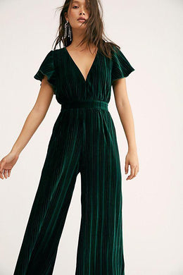 Mink Pink GREEN Lex Velvet Jumpsuit, US Medium