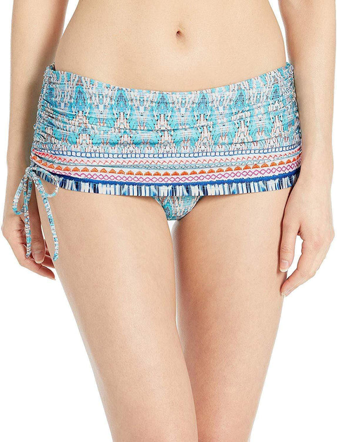 La Blanca WHITE/MILANO Adjustable Skirted Hipster Bikini Swim Bottom, US 14