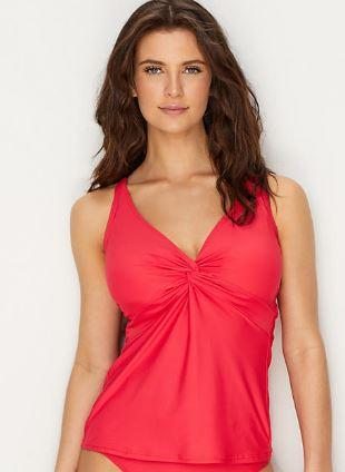 SUNSETS FOREVER UNDERWIRE TANKINI, LOVERS CORAL, 40E/38F/36G - racks-op