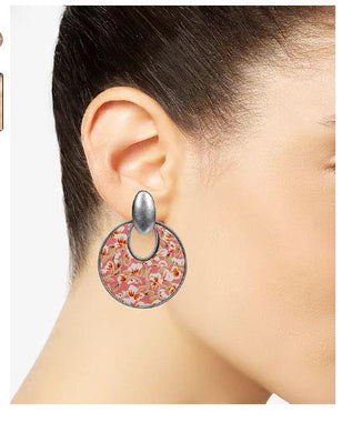 Patricia Nash Silver Rose Print Leather Doorknocker Drop Hoop Earrings SIMONE