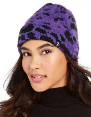 DKNY Women's Purple Fuzzy Animal Print Beanie, One size