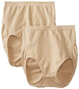 Bali NUDE Seamless Firm Control Brief 2-Pack Panty, US Large - racks-op