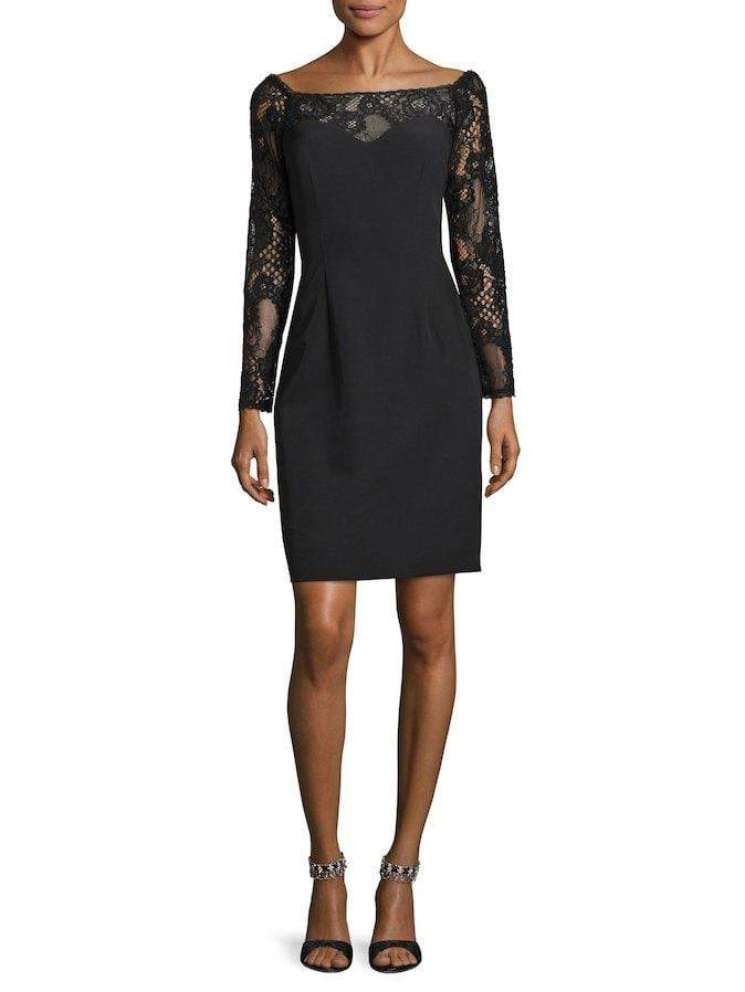 JS Collections Women's Black Stretch Crepe Lace Dress Size 4