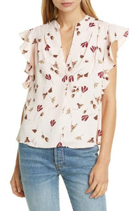 Joie LAUREL Ashtina Floral Crepe Cap Sleeve V-Neck Blouse, US X-Large