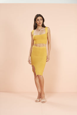Mink Pink YELLOW Knit Fitted Skirt, US Large