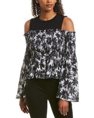 Nicole Miller Artelier BLACK/WHITE Painted Flowers Bell Sleeve Top, US Large