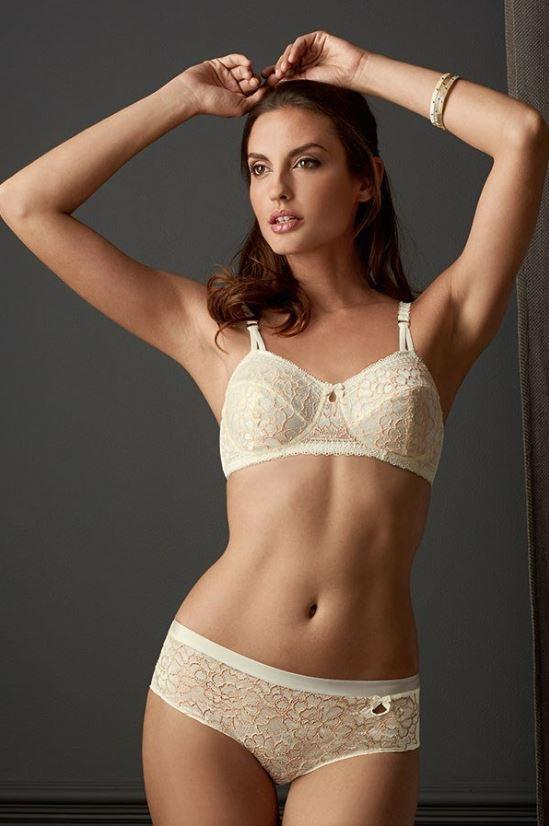 Amoena Off-White / Bisque Adriana Non-Wired Bra, Size US 32B - racks-op