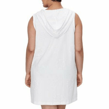 Load image into Gallery viewer, Dotti WHITE Plus Size Sail Away Puff Zip Front Hoodie Dress Cover-Up, US 2X