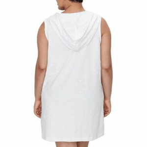 Dotti WHITE Plus Size Sail Away Puff Zip Front Hoodie Dress Cover-Up, US 2X