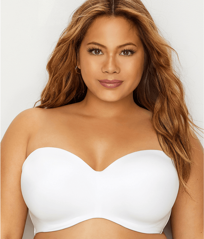 CURVY COUTURE White Smooth Strapless Multi-Way Uplift Bra, US 42H, UK 42FF, NWOT