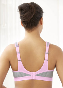 Glamorise PINK/GRAY Underwire High Impact Sports Bra, US 40C, UK 40C