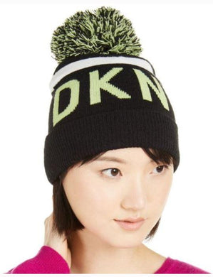 DKNY Neon Yellow Logo Stripe Pom Beanie, One size
