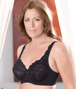 Elila BLACK Full Coverage Stretch Lace Underwire Bra, US 46I, UK 46G