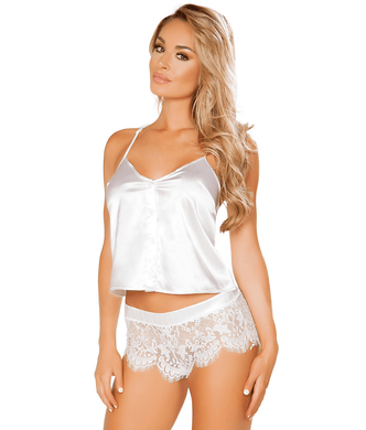 Roma WHITE Satin & Lace Lingerie Set, US Medium/Large - racks-op