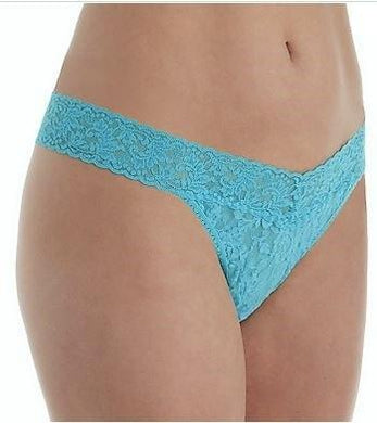 Hanky Panky Signature Lace Rise Thong (True Blue, One/Size/Plus) 4811X