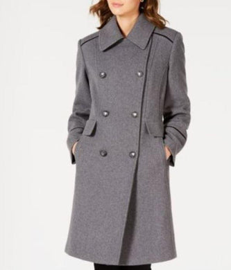 Vince Camuto Grey Wing-Collar Double-Breasted Coat, Medium
