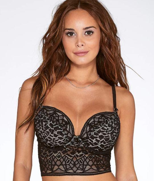 FREYA BLACK SOIREE LACE LONGLINE BRA, SIZE US 36G - racks-op