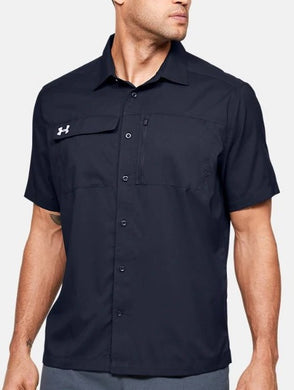 Under Armour MIDNIGHT NAVY Motivate Short Sleeve Button Up Shirt, US Small