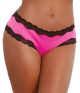 Dreamgirl HOT PINK/BLACK Cheeky Crotchless Bikini, US XLarge - racks-op