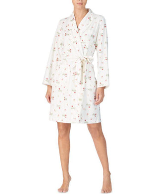 Lauren Ralph Lauren Ivory Floral Printed Fleece Short Wrap Robe, XS