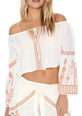 L*Space IVORY Crawford Embroidered Bell Sleeves Cropped Top, US Medium