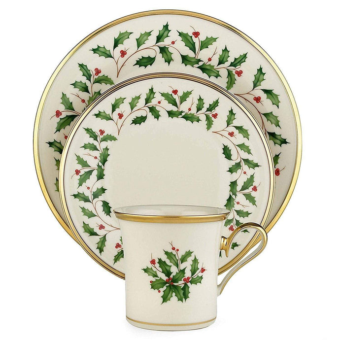 Lenox Holiday 4 Piece Place Setting, Ivory Bone China, 24ct Gold Accents