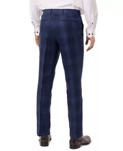 Load image into Gallery viewer, Tallia NAVY PLAID Slim Fit Linen Suit Separate Pant, US 40x30