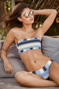 PilyQ CANCUN Stripe Thick Banded Bikini Swim Bottom, US Medium