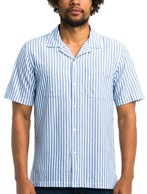 Todd Snyder BLUE Two Pocket Stripe Micro Waffle Short Sleeve Shirt, US X-Large