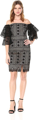 Nicole Miller Artelier BLACK/NUDE Embroidered Lace Off Shoulder Dress, US 10