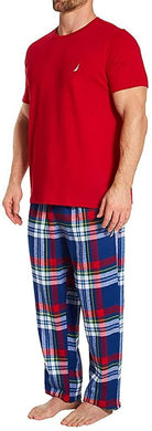 Nautica Men's RED PJ Set S/S Crew Tee and Flannel Pant, M