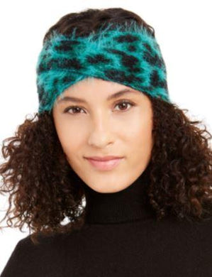 DKNY Green Fuzzy Animal Print Knit Twist Headband, One size