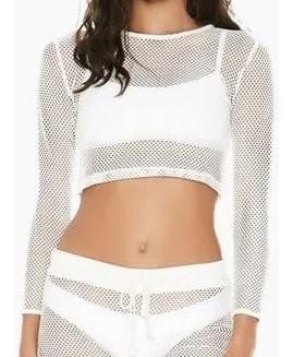 L*Space WHITE Sarah Longsleeve Mesh Crop Top Cover Up, US Large
