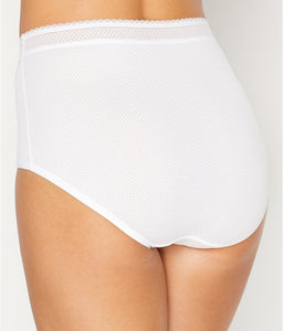 Warner's WHITE Breathe Freely Brief Panty With Lace, US 2X/9