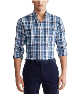 Ralph Lauren Polo Men's Blue Long Sleeve Flannel Plaid Shirt, Large