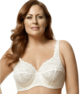 ELILA Ivory Full Coverage Stretch Lace Underwire Bra, US 46I, UK 46G, NWOT