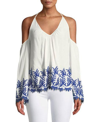 Ramy Brook WHITE/BLUE Damaris Cold Shoulder Embroidered Blouse, US X-Small