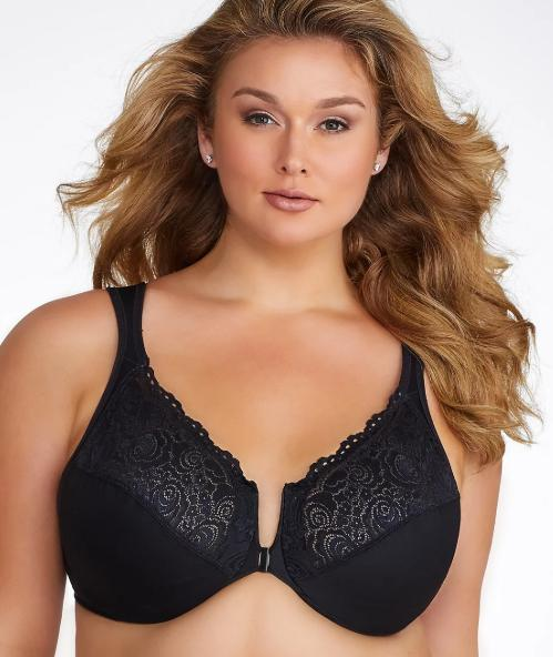 GLAMORISE BLACK WONDERWIRE® FRONT-CLOSE BRA, SIZE US 42C, NWOT - racks-op