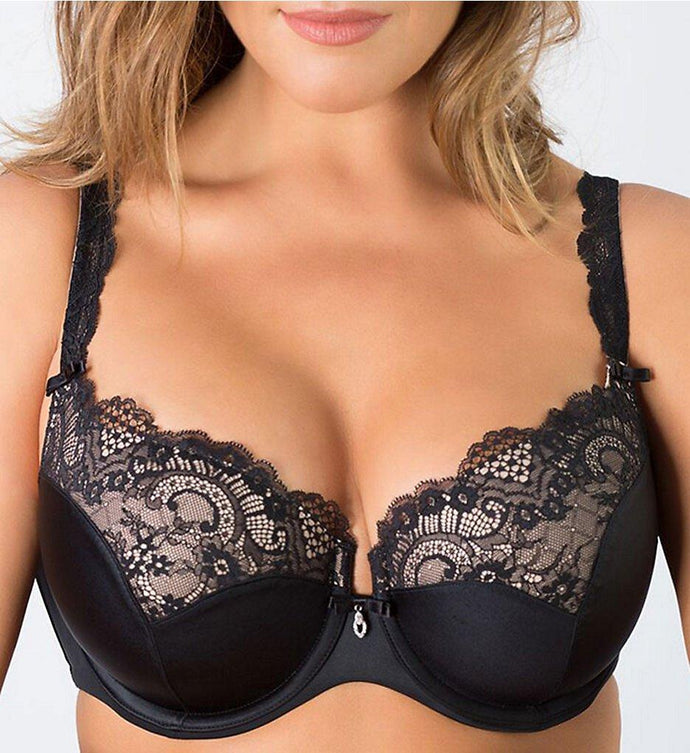 Curvy Couture BLACK Tulip Lace Push-Up Bra, US 40DDD - racks-op