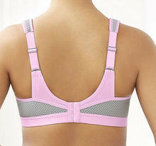Load image into Gallery viewer, Glamorise PINK/GRAY Underwire High Impact Sports Bra, US 42DD, UK 42DD