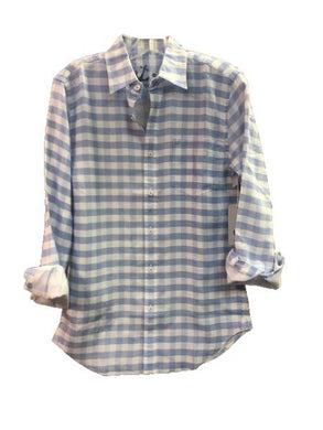HiHo Men's 100% Linen Blue Hydrangea Check Long Sleeve Shirt, Medium
