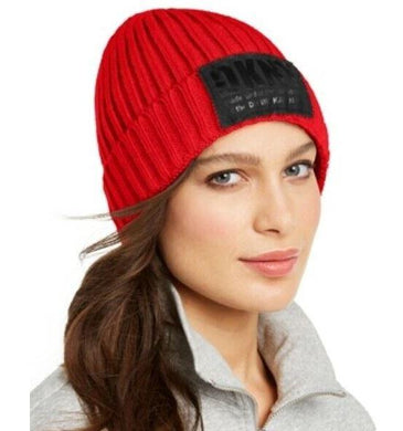 DKNY Red Fleece-Lined Knit Beanie, One Size