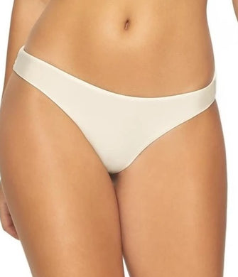 PilyQ IVORY Basic Ruched Teeny Bikini Swim Bottom, US Large