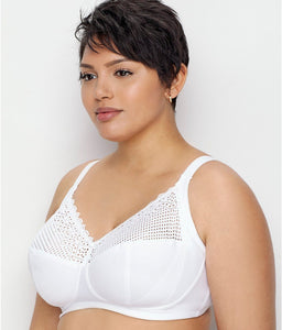 Glamorise WHITE Comfort Lift Wireless Bra, US 38I, UK 38G