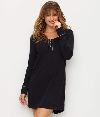 Lusome BLACK Haedy Knit Sleep Shirt, US Medium - racks-op