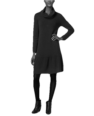 NY Collection Petite Women's Black Cowl-Neck Sweater Dress, Size PS
